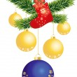 Blue and golden Christmas balls  — Stock Vector