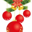 Christmas decoration with red balls — Stock Vector