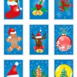Stock Vector: Reeting cards with Christmas symbols