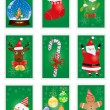 Stock Vector: Green greeting cards with Christmas symbols