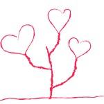 çocuksu bir şekilde kalp şeklinde çiçek — Stok Vektör