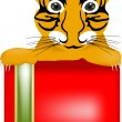 Tiger baby over box - Stock Vector
