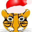 Tiger baby head with red hat - Stock Vector