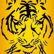 Bengal tiger head over orange background - Stock Vector