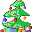 Decorated tree and presents over white background, — Stok Vektör