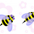 Two honeybees with flowers - Stock Vector