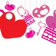 Hearts, boxes, keys hanging on a white background - Stockvectorbeeld
