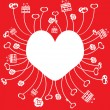 White heart on a red background — Imagen vectorial