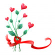 Valentine flowers with ribbon — Imagen vectorial