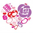 Hearts, flowers, gifts, keys in form big heart — Stock Vector