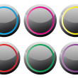 Black glance buttons with various color rings — Imagens vectoriais em stock