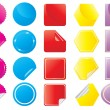 Bright stickers in different shapes — Stock Vector