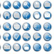 Blue button icons — Stock Vector