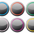 Black glance buttons — Stock Vector