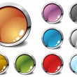 Six glossy buttons in various colors — Stock Vector