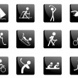 Black glossy sport icons - Stock Vector
