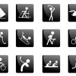 Stock Vector: Black glossy sport icons