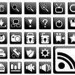 Black pictogram set — Image vectorielle