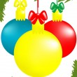 Stock Vector: Three x-mas balls