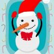 Smiling snowman — Stock Vector