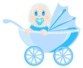 Baby in blue wear sits in pram, vector illustration — Vettoriale Stock