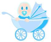 Bebé con ropa azul se sienta en cochecito, ilustración vectorial — Vector de stock