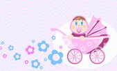 Wonder baby sits in perambulator, vector illustration — Vector de stock