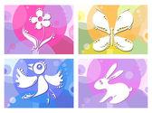 Ilustração em vetor criativo de pássaro, borboleta, flor e coelho — Vetor de Stock