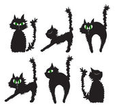 Vector illustration of set of black cats — Stock Vector