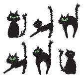 Vector illustration of set of black cats — Stock Vector