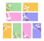 Vector illustration of visiting cards with bird, butterfly, flower and bunny — Stock Vector