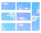 Vector illustration of blue cards with snowflakes — Stock Vector