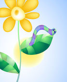 Vector illustration of caterpillar on a flower on the background of sky and sun — Stock Vector