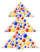 Vector illustration of xmas-tree made of color balls — Stock Vector
