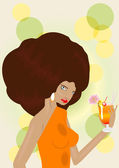 Pretty woman in orange dress holds cocktail — Stock Vector