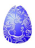 A blue ornate egg — Stock Vector