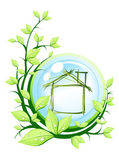 Green house into blue ball with plant — Stock Vector