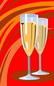Zwei Champagner Flöten — Stockvektor