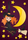 Witch with black cat on the broom — Stock Vector