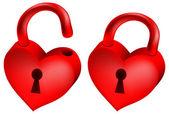 两个红色锁的心窗体中 — 图库矢量图片