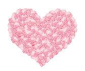 Kalp pembe gül — Stok Vektör