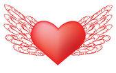 Coeur rouge avec des ailes — Vecteur