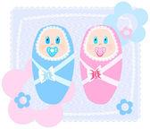 New-born babies — Stock Vector