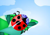 Ladybug creeping on the leaf — Stock Vector