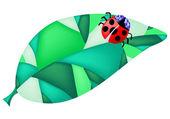 Ladybug on the leaf — Stockvektor