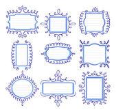 Negen blauwe frames met krullen — Stockvector
