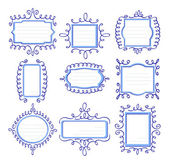 Nine blue frames with curls — Vector de stock