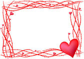 Red valentine frame with heart — Vettoriale Stock