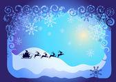 Santa Claus in sled — Stock Vector