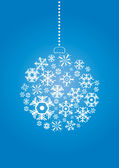 Christmas ball made of snowflakes on a blue background — Stock Vector